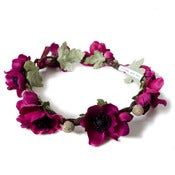 Image of Anemone Floral Crown - Burgundy