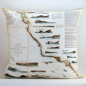 "Image of Vintage US PACIFIC COAST Map Pillow, Made to Order 18"" x18"" Cover"