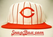 Image of Deadstock Vintage Cincinnati Reds Pinstripe Signature Snapback Hat Cap