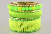 Image of Neon Green Beaded Bangle Set