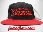 Image of Vintage Deadstock Portland Trailblazers Sports Specialties Pinstripe Script Snapback Hat Cap