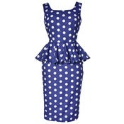 Image of Polka Dot Peplum Pencil Dress