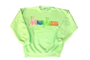Image of Neiman Marcus &quot;Neon Green&quot; Crewneck