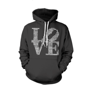 Image of Classic LOVE Hoodie (Black/White)