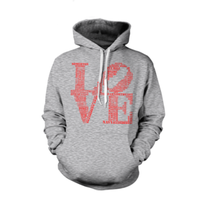 Image of Classic LOVE Hoodie (Grey/Red)