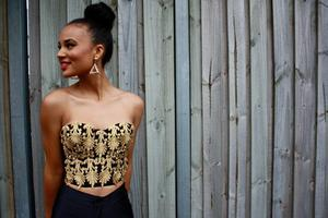 Image of Magical Wonderland Black Cosmic Gold Handmade Fleur De Lis Pattern Corset Crop Top Bustier