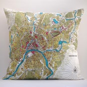 "Image of Vintage MOSCOW Map 18""x18"" Pillow Cover"