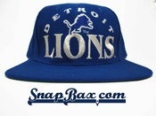 Image of Vintage Deadstock Detroit Lions Game Brand Blue Silver Snapback Hat Cap