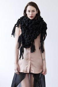 Image of belleville shawl/cowl of thick & thin spun wool (shown in black)