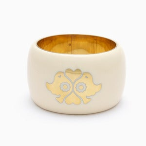 Image of Lovebirds Bangle | Bone + Golden