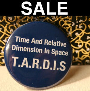 "Image of T.A.R.D.I.S Blue or Back: 1.5"" Pin"