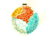Image of Bright Floral - Large Round Glass Pendant