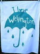 Image of I Love Wellington tea towel in teal