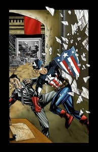 Image of CAPTAIN AMERICA - COLORED PRINT - ALTERNATE FLAG SIGN