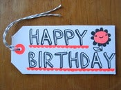 "Image of Set of 5 hand screen printed ""HAPPY BIRTHDAY"" gift tags"