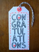 "Image of Set of 5 hand screen printed ""CONGRATULATIONS"" gift tags"