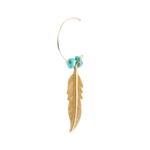 Image of Turquoise Single Feather Earring