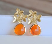 Image of Amber Orange Teardrop and Gold Cherry Blossom Flower Post Earrings