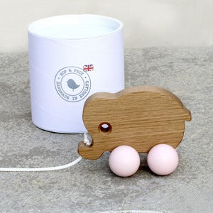Image of NEW! Pull Along Elephant toy - Baby Pink