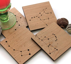 Our Night Sky Wood Constellation Coasters