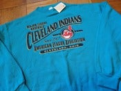 Image of Vintage Deadstock Cleveland Indians Aqua Logo Athletic Crewneck Sweatshirt