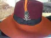 Image of Wide Brim Fedora,Burgundy and Orange w/Single Feather