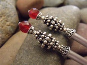 Image of Intergalactic Beehives Hairsticks | Faceted Carnelian Gemstones, Sterling Silver, Steel