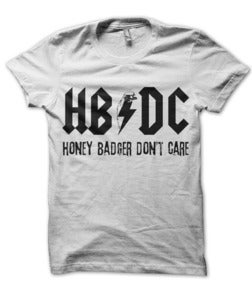 Image of HB / DC HONEY BADGER DON'T CARE AC/DC PARODY BLACK INK T-SHIRT