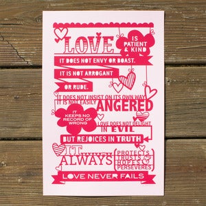 Image of I Corinthians 13 Silkscreen Print - Red