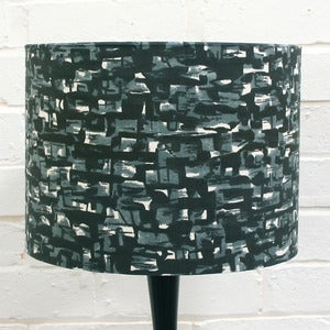 Image of Small Lampshade in Grey &amp; Black Vintage