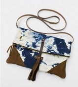 Image of -S O L D- the foldover crossbody bag in hand bleached denim