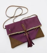 Image of foldover crossbody bag in vintage plum kimono silk