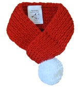 Image of SOLID RED SCARF WITH WHITE POM POM