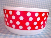 Image of Vintage 70s Large Polka Dot French Salad/Dessert Dish