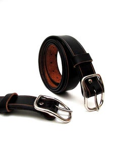 Image of Black Leather Belt for Men Handmade in America