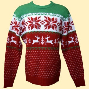 Image of Unisex Winter Wonderland Knitted Christmas Jumper/Sweater (Red)