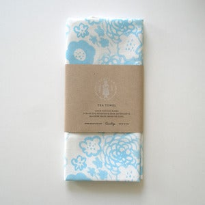 Image of Flowers Tea Towel - Blue