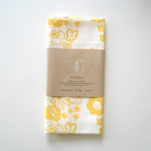 Image of Flowers Tea Towel - Yellow