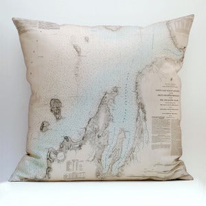 "Image of Vintage GRAND TRAVERSE BAY Chart 18"" x 18"" Pillow Cover"