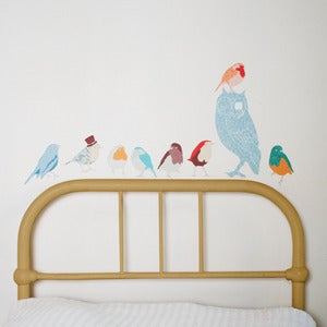 Image of Birds of a Feather Fabric Stickers (Blue)