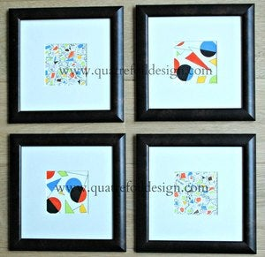 Image of Original art - abstract watercolor and pencil  - set of four