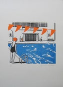 Image of 'At The Lido' Risograph print unframed.  SOLD OUT
