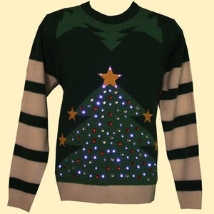 Image of Unisex Christmas Tree LED Light-up Knitted Jumper/Sweater - Green