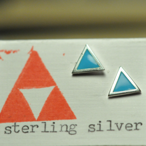 Image of Sterling Silver Triangle Stud with Enamelling