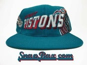 Image of Vintage Deadstock Detroit Pistons Sports Specialties Teal Block Slant Snapback hat Cap
