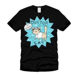 Doctor Cat T-shirt in Black - Mens/Womens Sizes