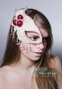 "Image of ""Maraschino"" Cherries Cream Half Mask Fascinator Pop Surreal Headdress"