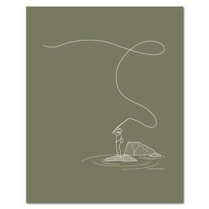 Image of Fly Fishing Print on Olive | Screen Printed