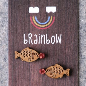 Image of Wooden Fish Soy Sauce Earrings