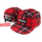 Image of NEW! Supreme Box Logo Plaid Camp Hat Collection (Red)